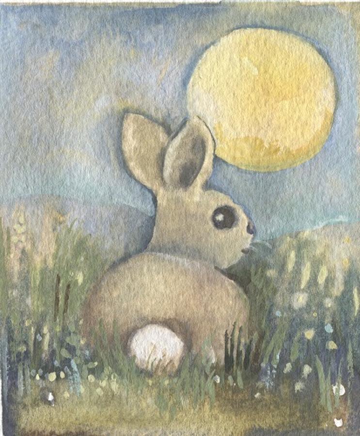 Baby rabbit in moonlight
