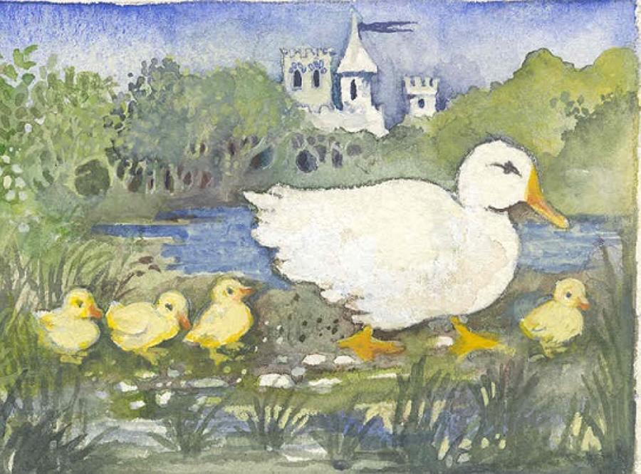 Duck, ducklings & castle