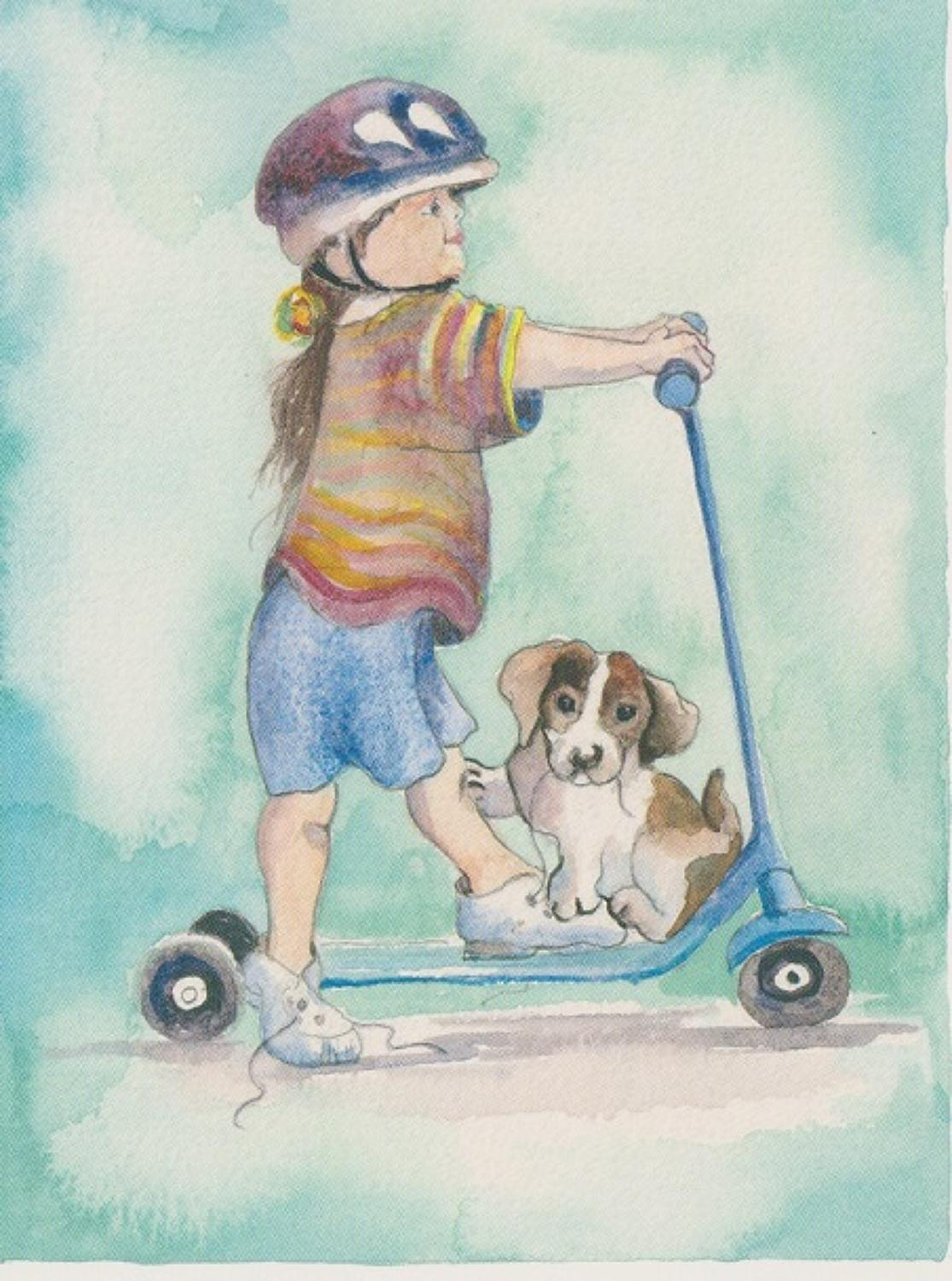 Girl on scooter with puppy