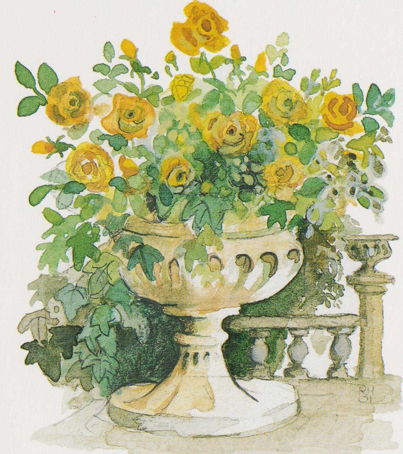 Yellow rose urn
