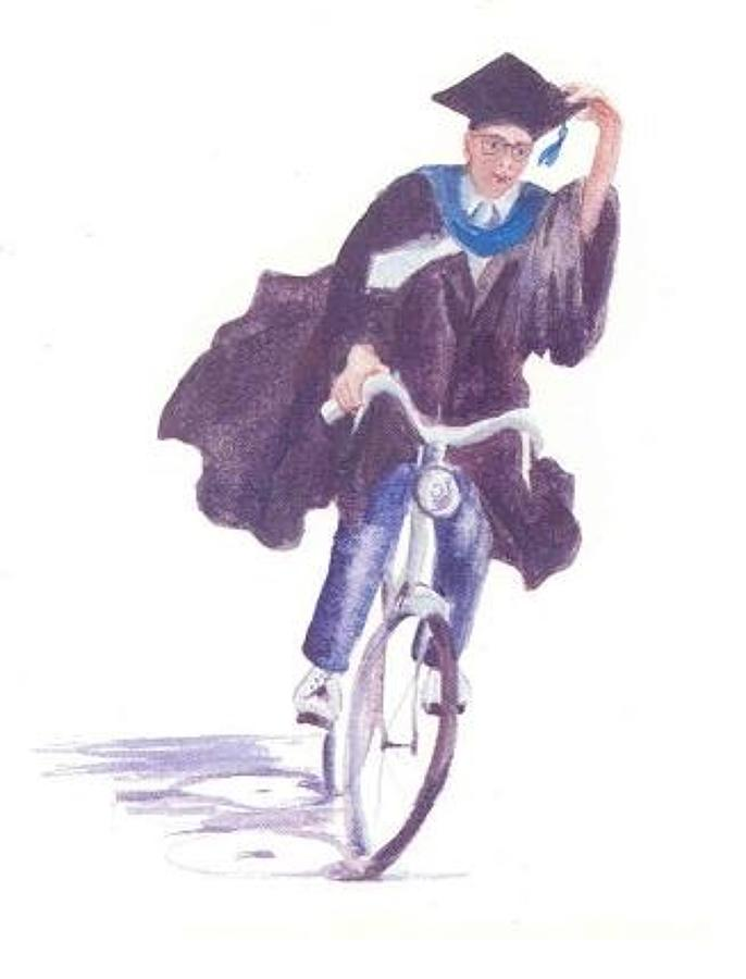 Male graduate on a bike