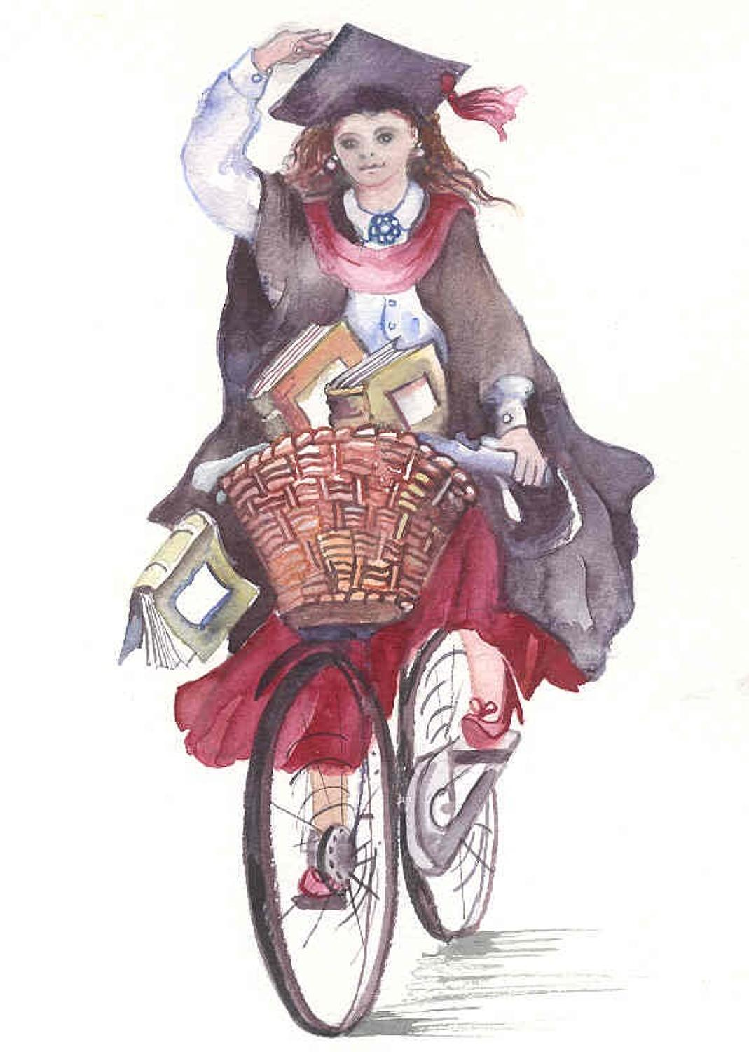 Female graduate on a bike