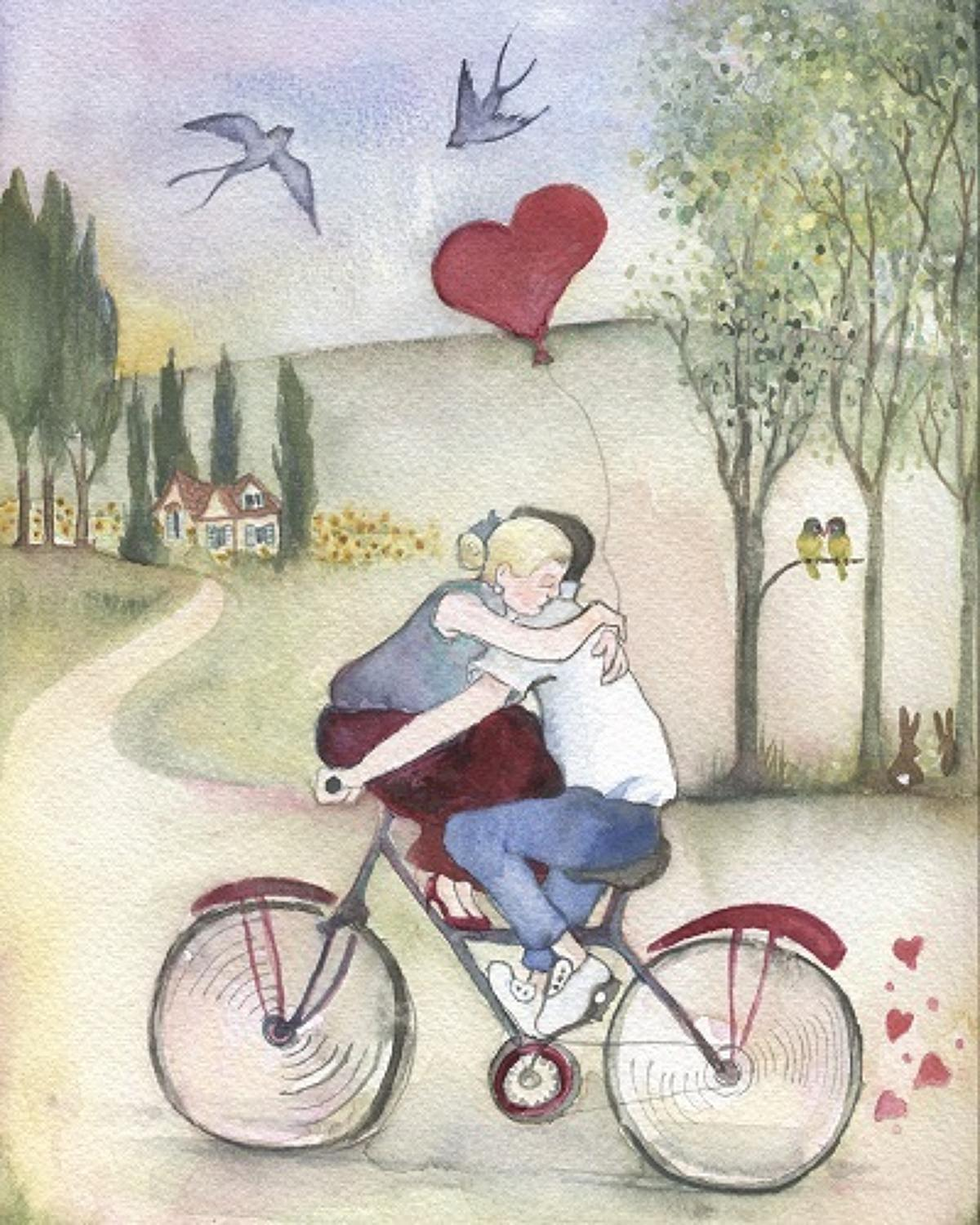 Lovers on a bicycle