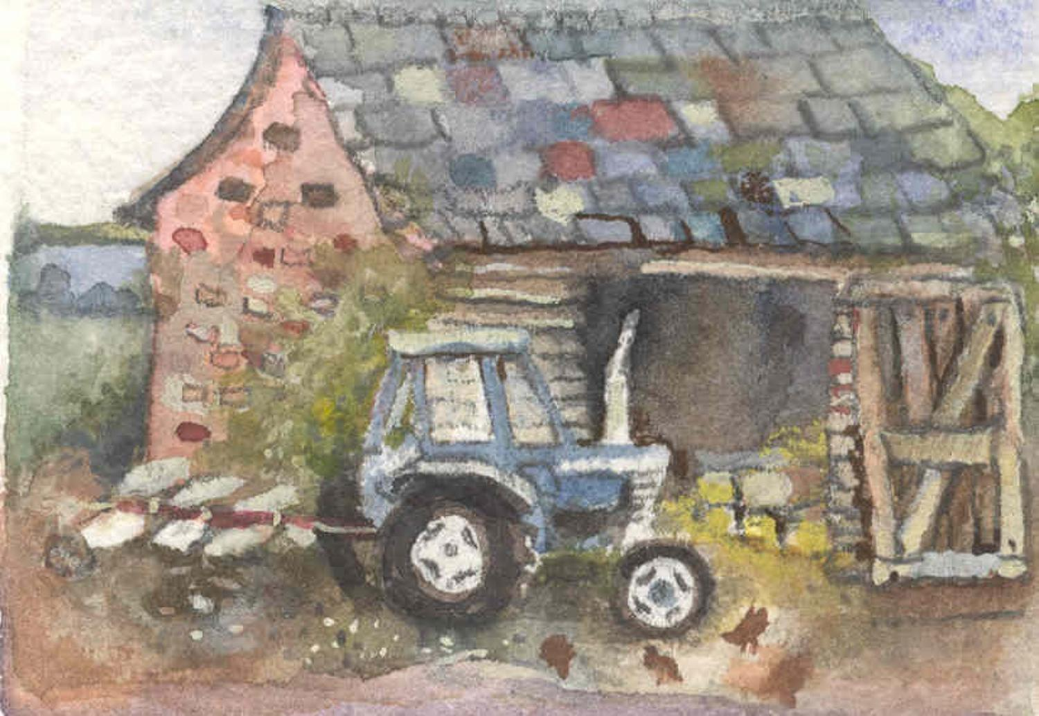 Tractor, barn & chickens