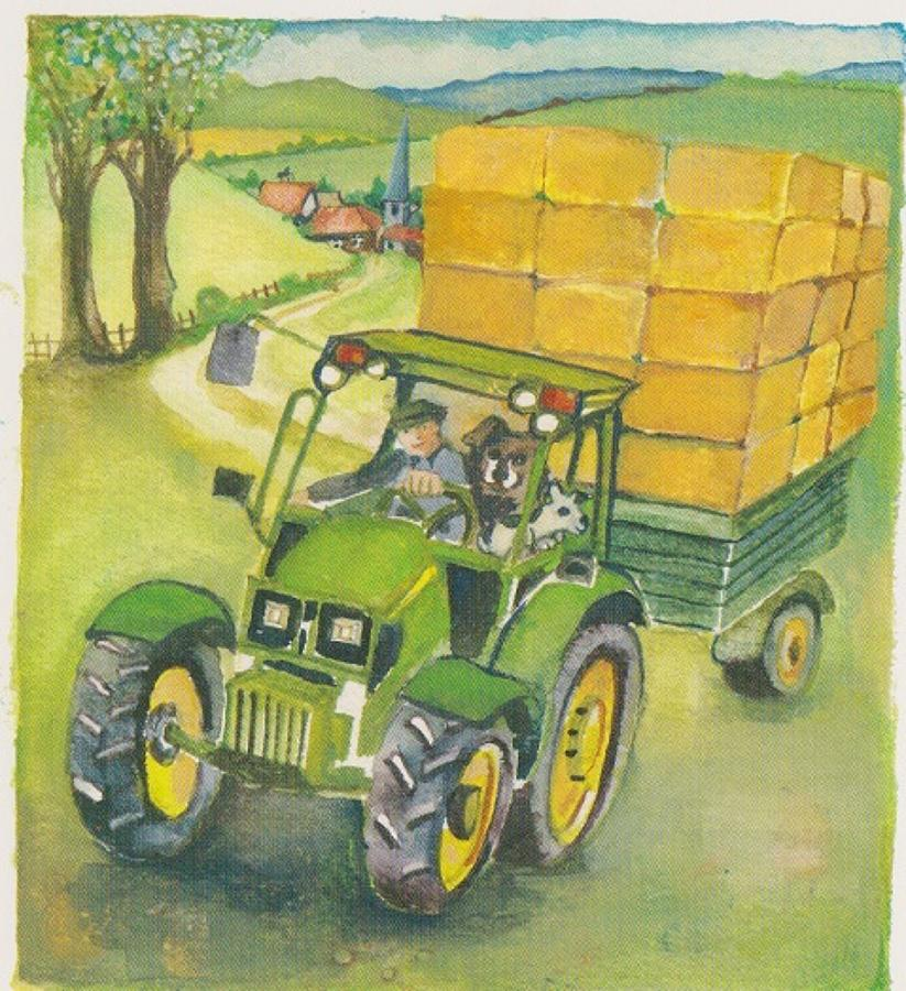 John Deere & straw bales