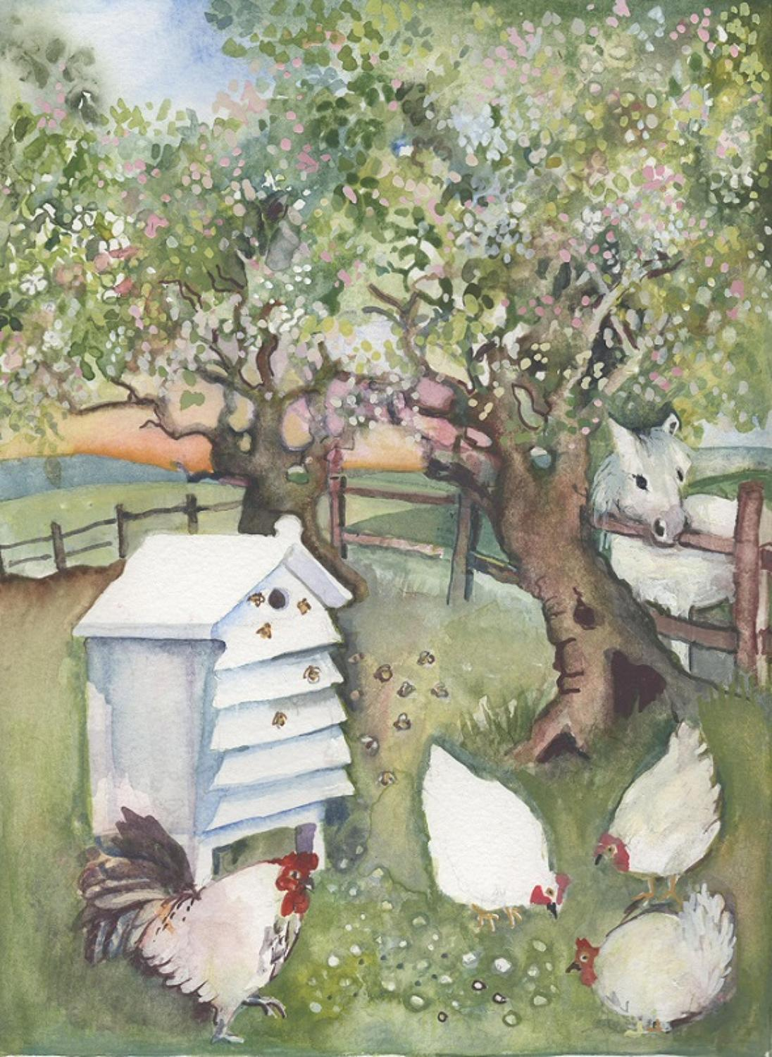 Bees & chickens in the orchard