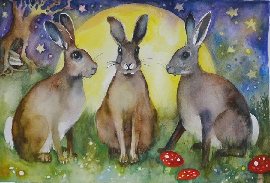 Three hares at full moon