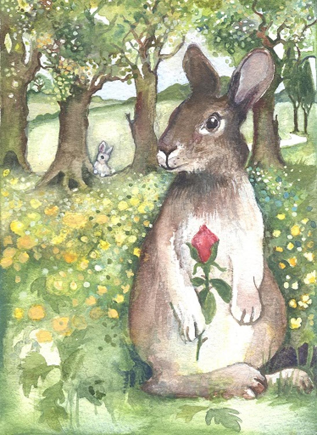 Hare, red rose & rabbit