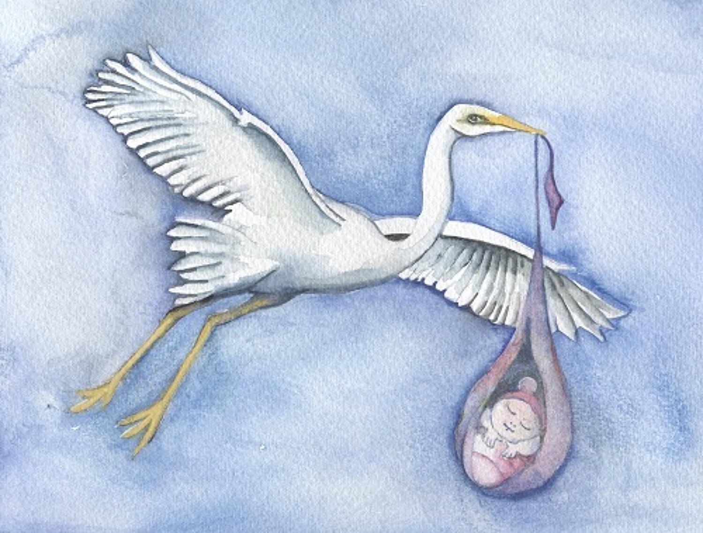 Stork & baby girl