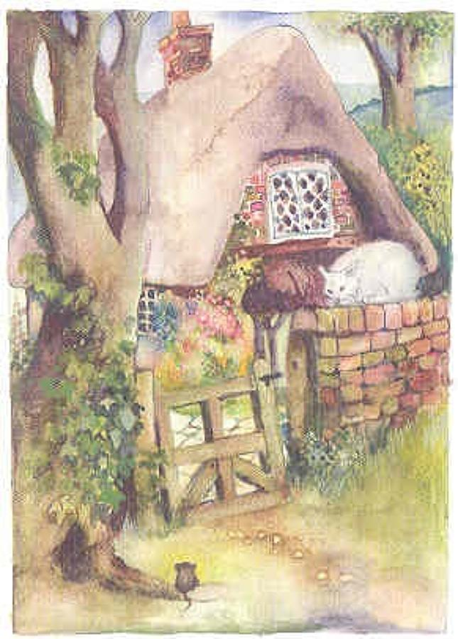 Cat, mouse & thatched Cottage