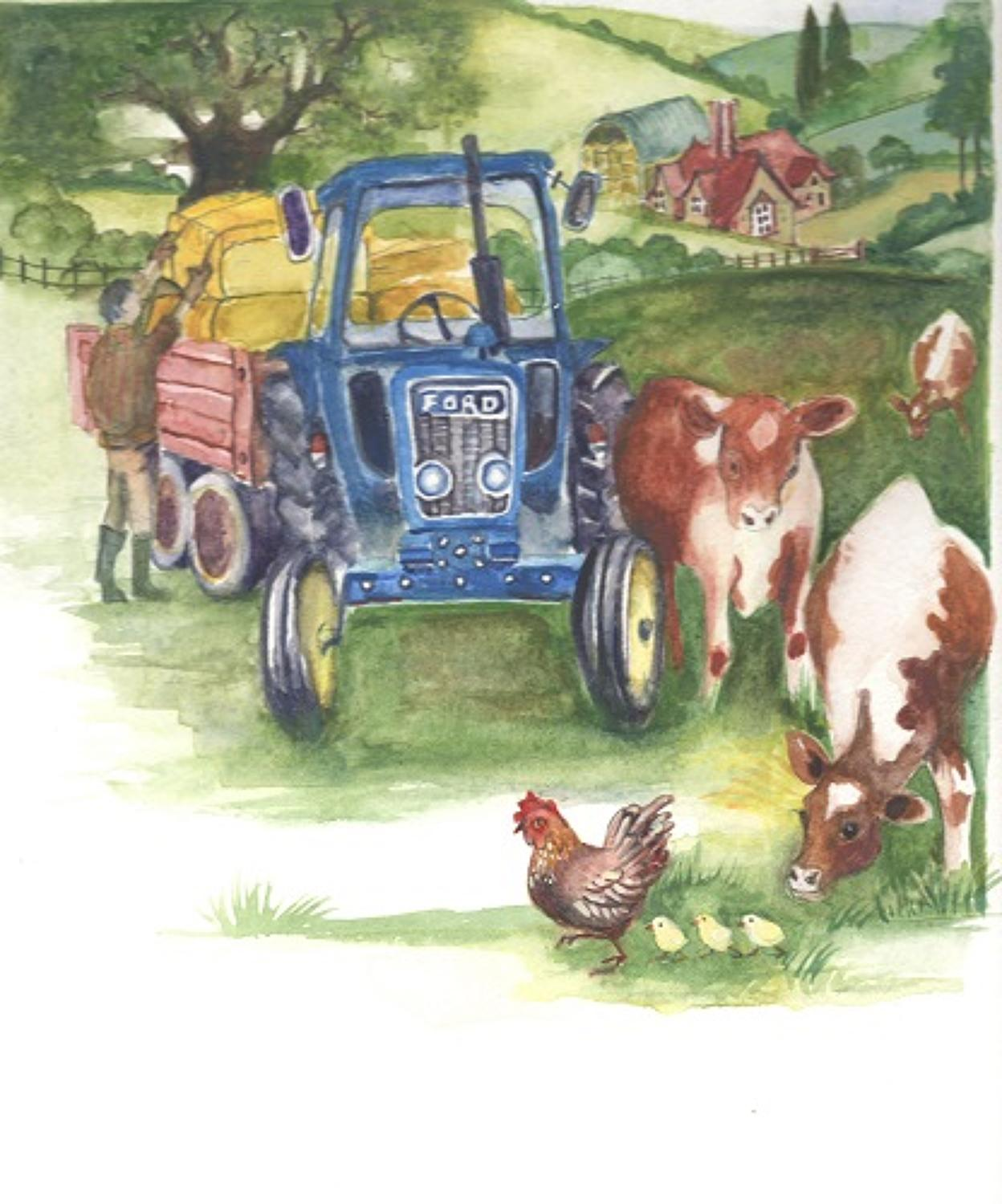 Ford tractor & calves