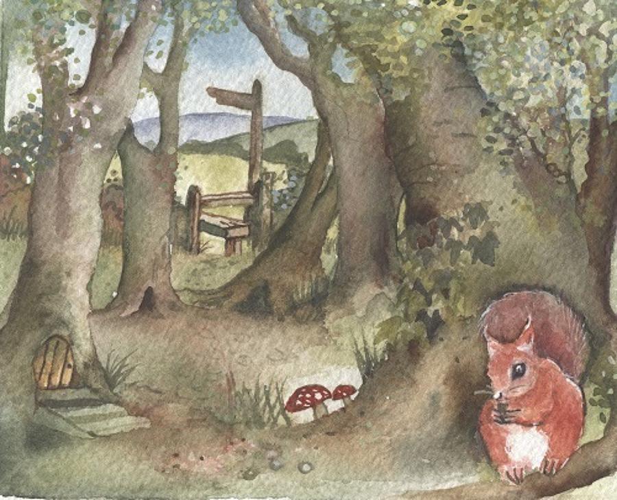 Footpath & squirrel