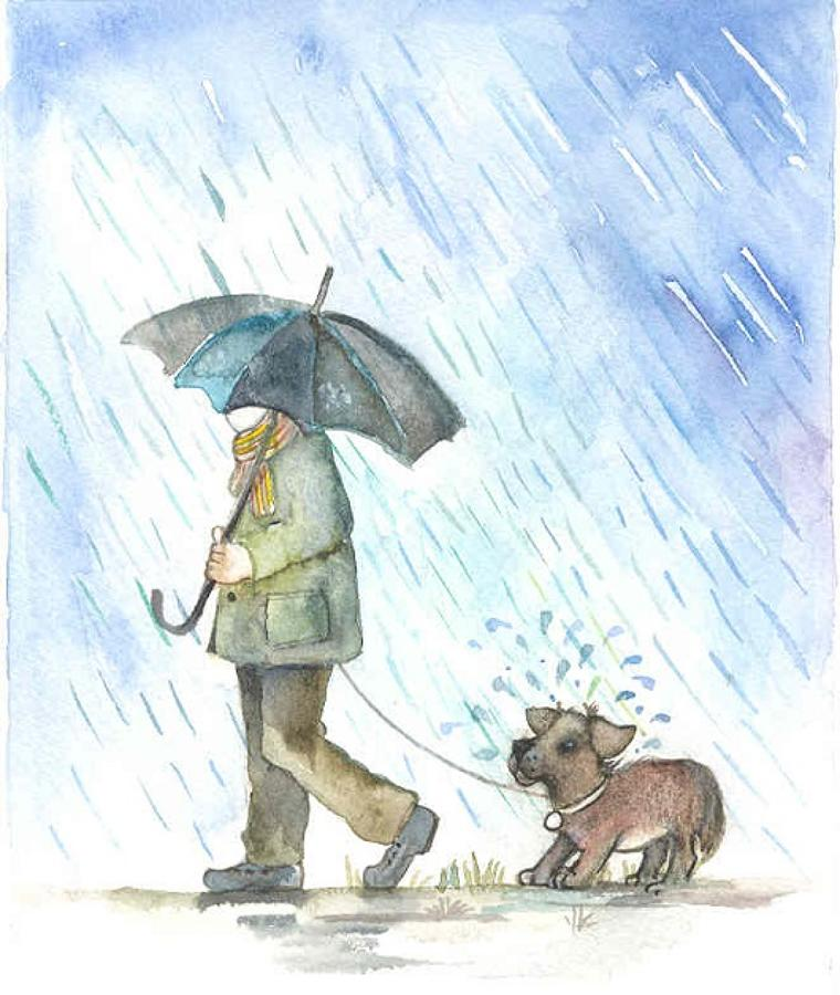 Walking the dog in the rain