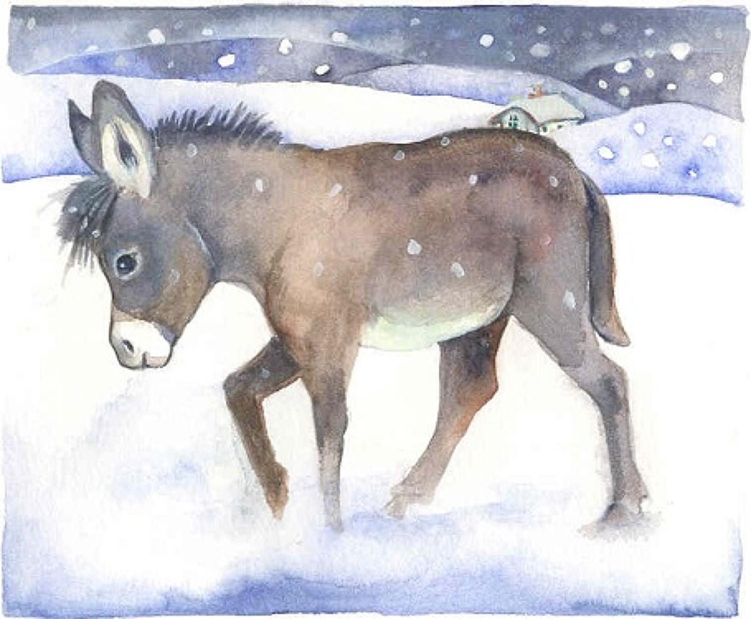 Donkey in the snow