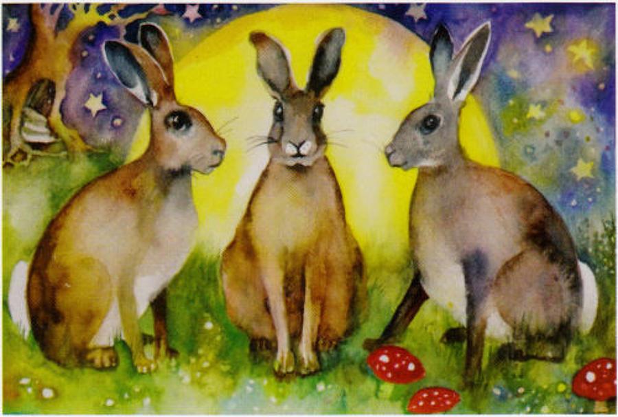 Three hares & moon